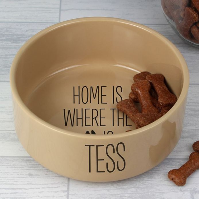Home Is Where.... Large Brown Dog Bowl